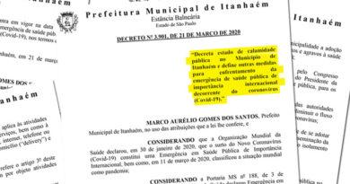 Itanhaém decreta estado de calamidade pública em decorrência do coronavírus