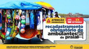 Ambulantes de praia devem renovar licença até o dia 17 de setembro em Itanhaém